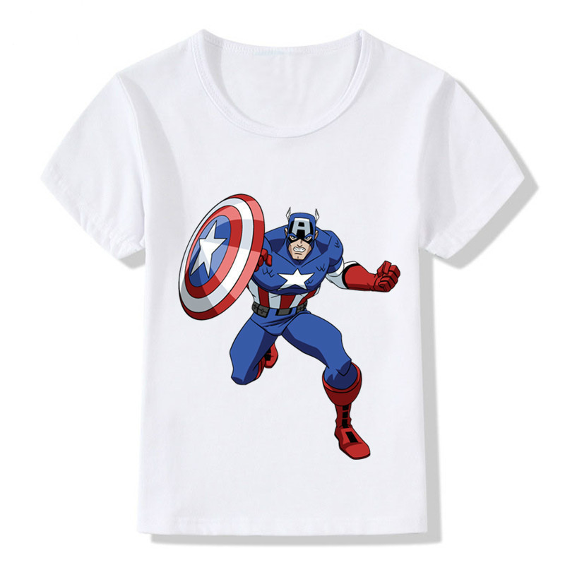 Children Summer Super Hero Captain America Design Funny T-Shirt Kids Baby Hipster Cool Clothes Boys Girls Casual Top Tee,ooo5044