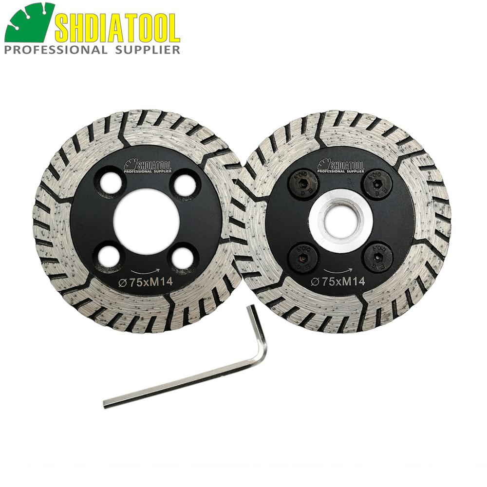 SHDIATOOL 1pc 75mm Diamond Cutting Grindng Disc With Flange And 1pc Blade Dia 3