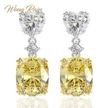 Wong – boucles d'oreilles en forme de cœur en argent Sterling 925, bijou de luxe, en Moissanite, en or blanc, goutte d'eau, vente en gros