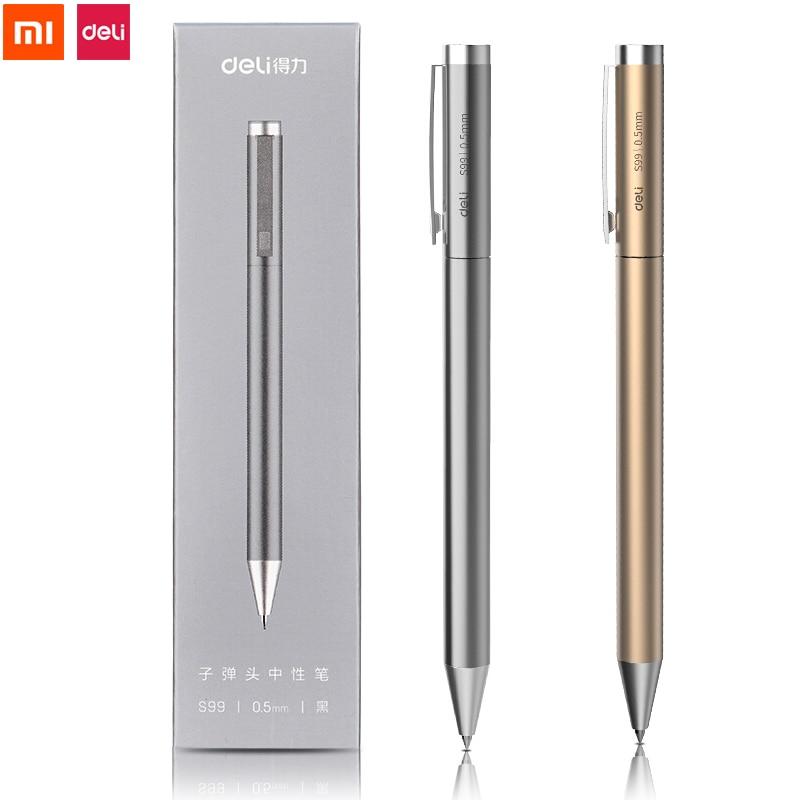 Xiaomi Deli металлическая шариковая ручка, ручка для подписи 0,5 мм, гелевая PREMEC, гладкие швейцарские стержни, черные чернила, Офисная и школьная Р...