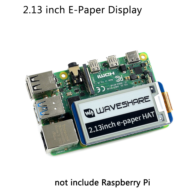 Raspberry Pi 2.13 Inch E-ink Display Hat 250x122 Resolution E-Paper SPI Screen  For Raspberry Pi 4B/3B+/3B/3A+/Zero For Arduino