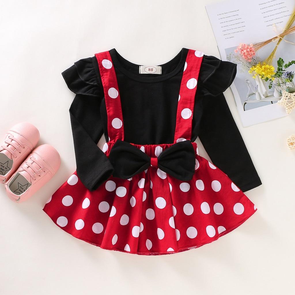 Комплект одежды с Минни Маус для маленьких девочек, детская осенне-зимняя одежда в горошек для маленьких девочек топы с оборками + юбка на бретелях Roupa Bebe