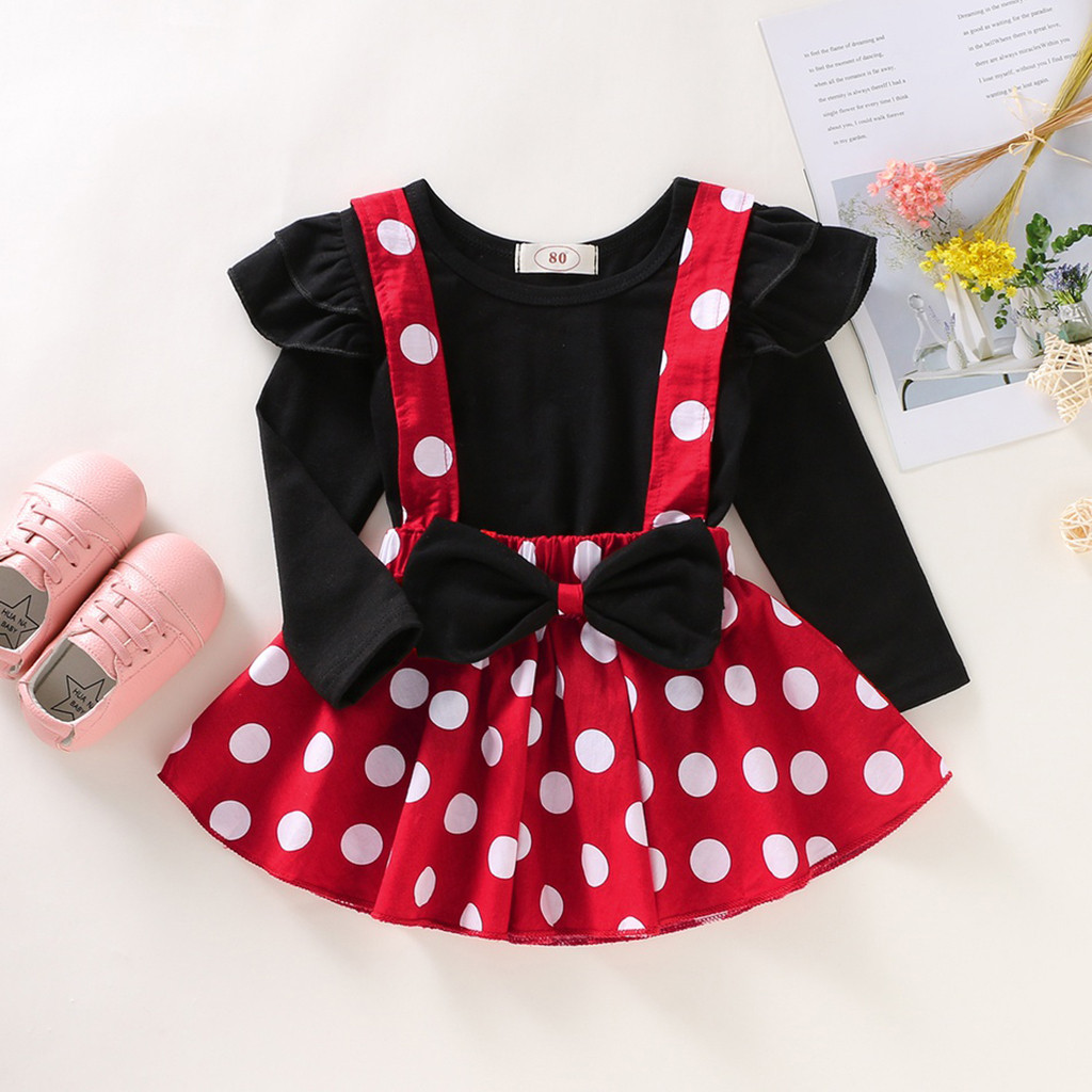 Minnie Maus Baby Mädchen Kleidung Set Polka Dot Kinder Baby Mädchen Herbst Winter Baby Kleidung Rüschen Tops + Gurt Rock roupa Bebe