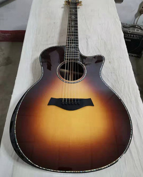 free shipping custom shop tobacco burst all solid handmade acoustic guitar gotoh tuner peg abalone cutaway guitars free shipping chinese factory custom 2017 100% new mt d 28 acoustic guitar matte finish neck backside nature color 323