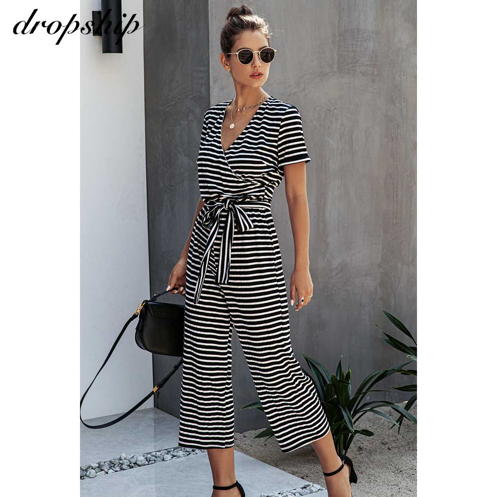 Dropship Jumpsuit Rompers Women Casual Striped Jumpsuits  Streetwear Thin Summer Short Sleeve Overalls For Women Playsuit