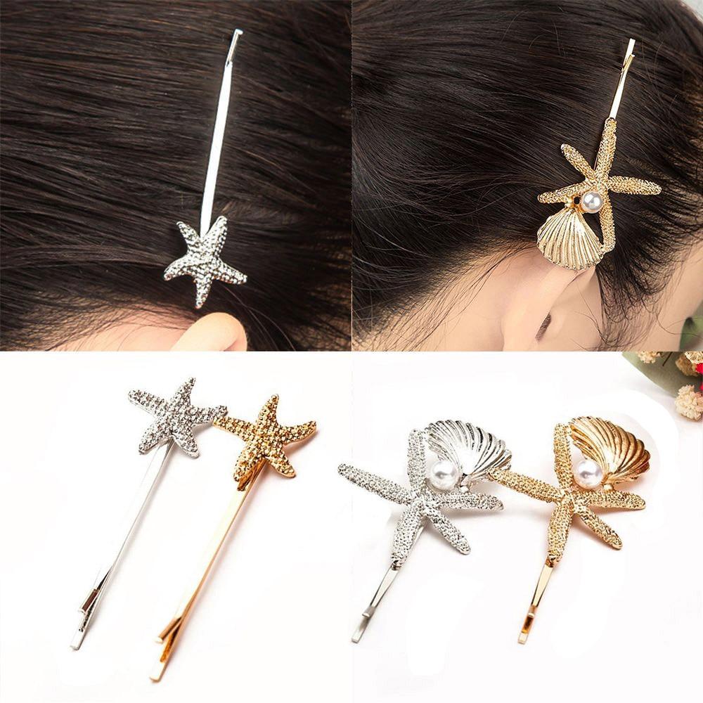 Vintage Starfish Shell Metal Imitation Pearl Hair Clips Women Barrettes Elegant For Female Girl Hair Pins Hair Accessories New 2