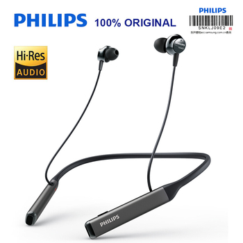 Original New PHILIPS TAPN505 Wireless Neckband HiRes Headset Active Noise Canceling Bluetooth 5.0 With Mic Support Official Test