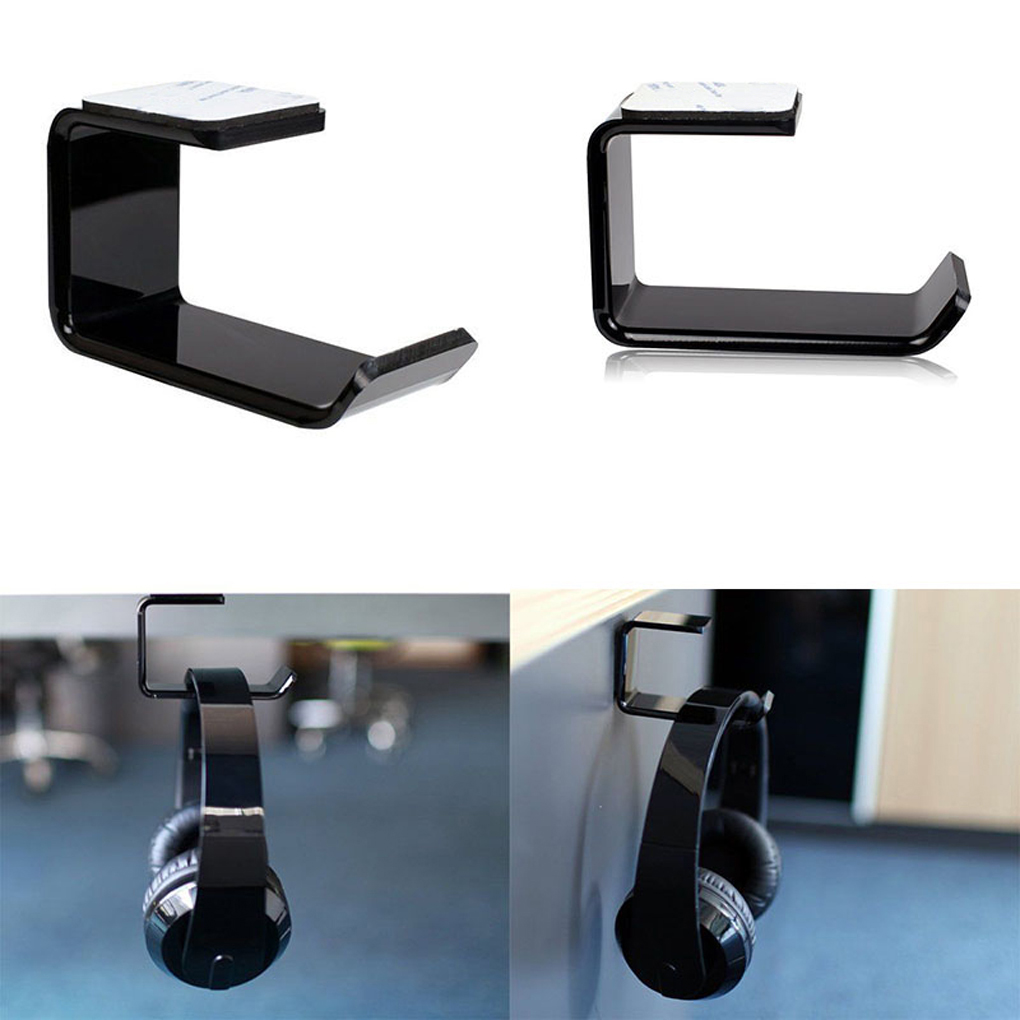 Aluminum Headphone Headsets Hanger Holder Wall PC Monitor Stand Hook Sticky