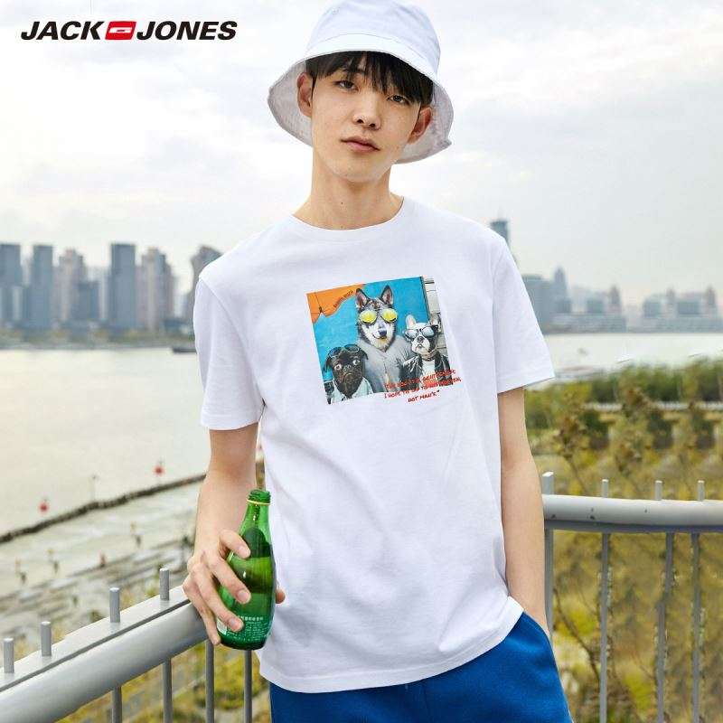 JackJones Men's 100% Cotton Animal Print Short-sleeved T-shirt Menswear Streetwear| 220101517
