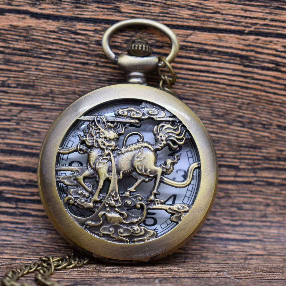 Pocket & Fob Watches Vintage Chinese Unicorn Kylin Pattern Quartz Pocket Watches Necklace  Women/Mens  Pendant Watch Gift