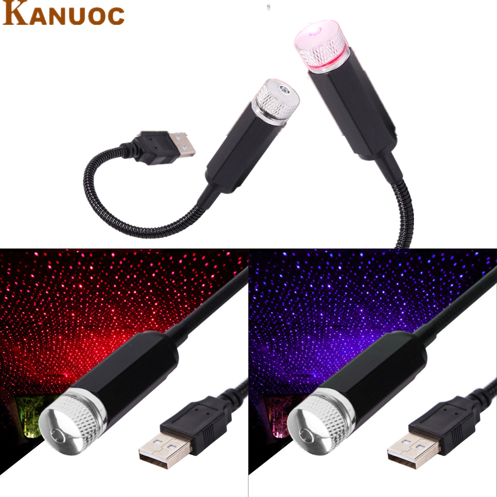 <font><b>Car</b></font> Atmosphere Lamp <font><b>USB</b></font> Night Light Home Interior Ambient Star Light <font><b>LED</b></font> Projector Lamp Red Light color For Bmw E46 E90 E60 E39 image