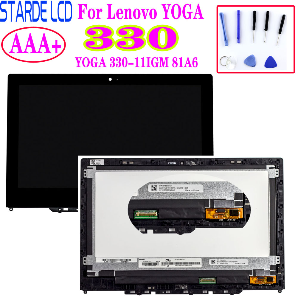 For Lenovo YOGA 330-11IGM 81A6 yoga 330-11 yoga 330-11igm LCD Display Touch Screen Digitizer Assembly with Frame New Replacement image