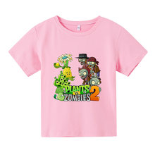 Summer Children's Plants vs. Zombies Printed 3D Game T-shirt Boys and Girls Brand Shorts Kids Beach Shorts Sweatpants 4-14old