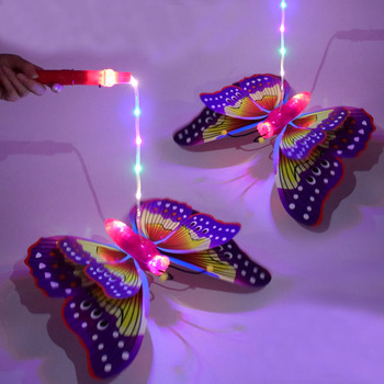 Flashing Flapping Wing Music Butterfly Toy Electric Kids LED Toy Home Party Concert Club Supplies Colorful Dragonfly Stick Gift