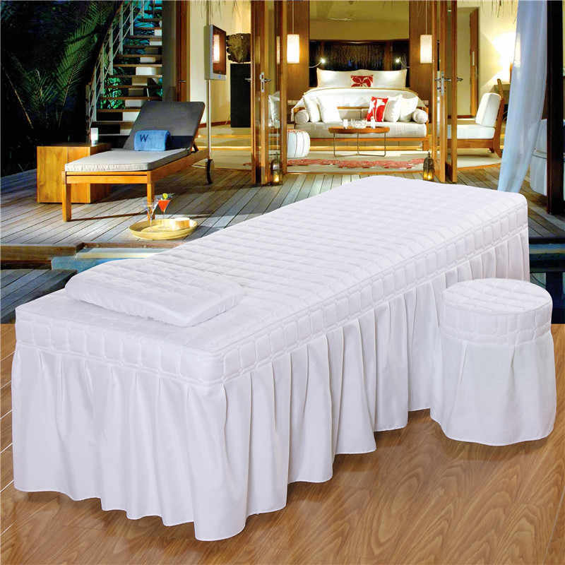 190*80cm Solid Beauty Salon Massage Table Bed Sheet Skin-Friendly Massage Sheet SPA Treatment Bed Full Cover with Skirt