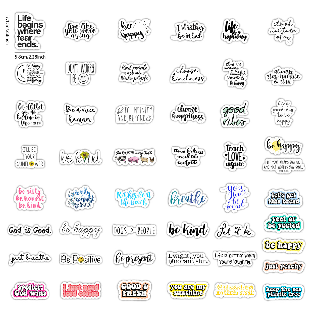 50pcs English Letters Inspirational Quotes Cartoon Sticker for Laptop Computer Skateboard Case Helmet Toy Stickers