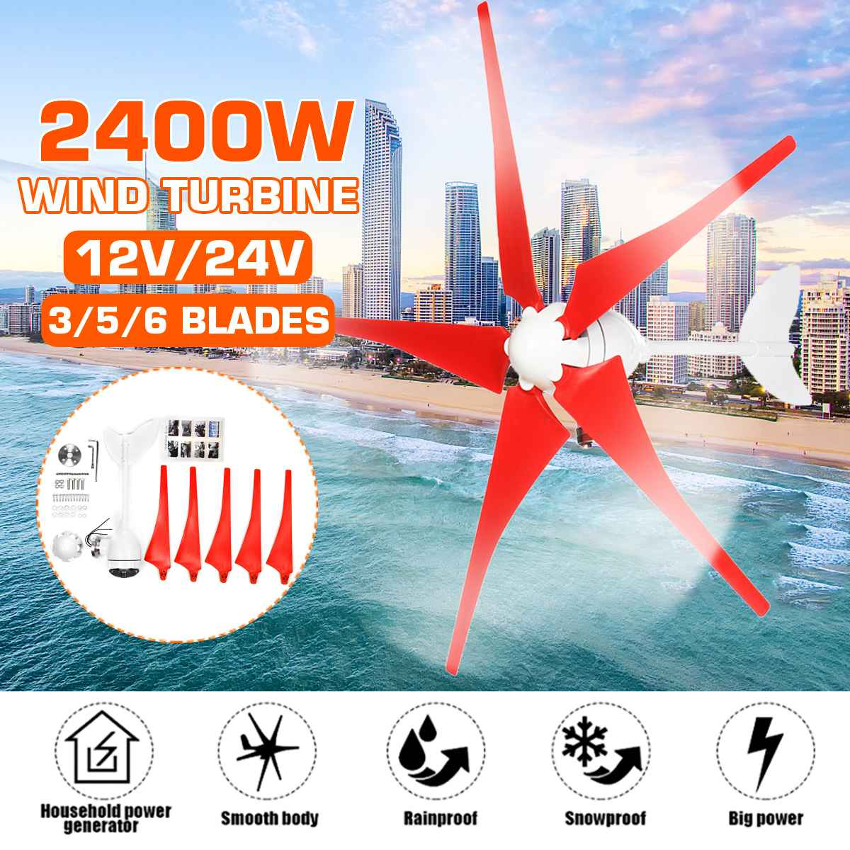 2400W 3/5/6 Blade Wind Turbines Generator AC DC 12V/24V Motor Kit Garden Street Lights Windmill Energy Turbines Charge