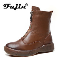 Fujin Hohe Qualität Weiche Echtes Leder Stiefel Zip Für Frauen Herbst Winter Plüsch Fell Warme damen Schuhe Stiefeletten Plattform(China)