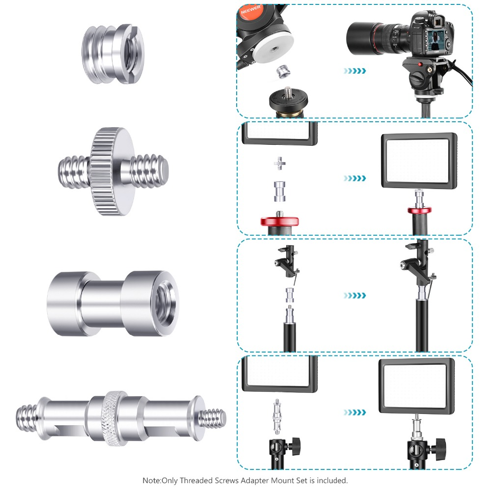 for Camera//Tripod//Flash//Stand//Mic//Rig//Cage Neewer Camera Screw Kit 1//4 to 1//4, 1//4 to 3//8, Female to Male, Male to Male, etc 16 Pieces Tripod Screw Adapter Converter Spigot Screw Mount Pack