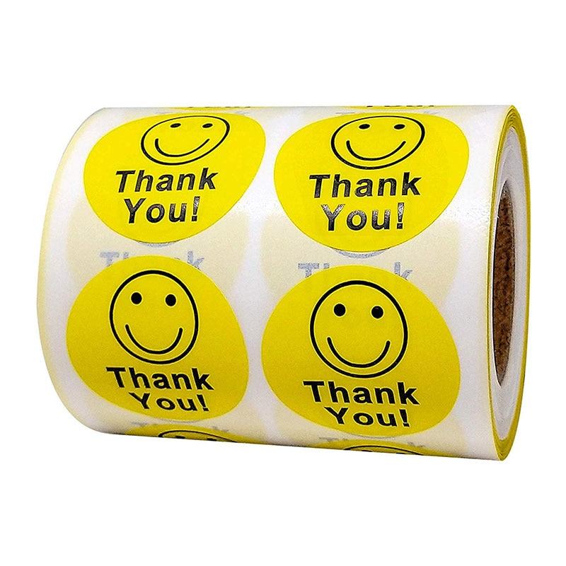 Yellow -Thank You Circle Smile Smiley Face 1.5