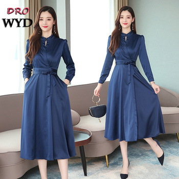 Autumn Long-sleeved Dress Women's Bohemian Blue 2019 New Korean Version of The Knee High Waist Retro Slim Elegant Dress Vestidos