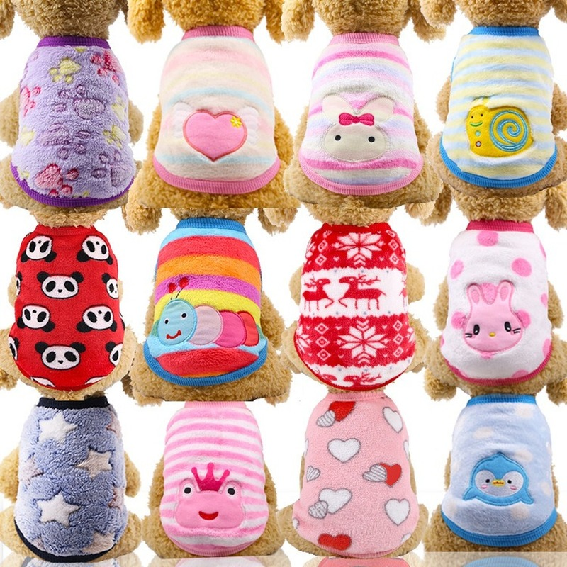 12 Colors Cartoon Puppy Vest Clothing Warm Dog Clothes Chihuahua French Bulldog Winter Dog Coat For Small Dogs Pet Cat Clothes