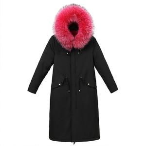 Image 4 - Kış ceket pamuk Sustans uzun ceket kadın Parka dış giyim artı boyutu Jaquetas Feminina 2019 büyük kürk yaka kapşonlu aşağı kadın