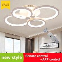 Anéis de led moderno lâmpada do teto para sala estar estudo quarto cozinha controle remoto ajustável + controle app