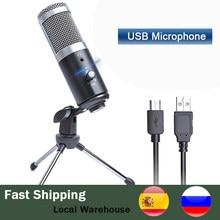 Microphone professionnel à condensateur cardioïde, USB, pour ordinateur portable, enregistrement, Studio, chant, jeu, Streaming