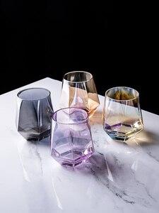 Креативные стеклянные кружки с бриллиантами, стеклянные геометрические Восьмиугольные кружки для вина, кофейные кружки, чашка для сока, пи...