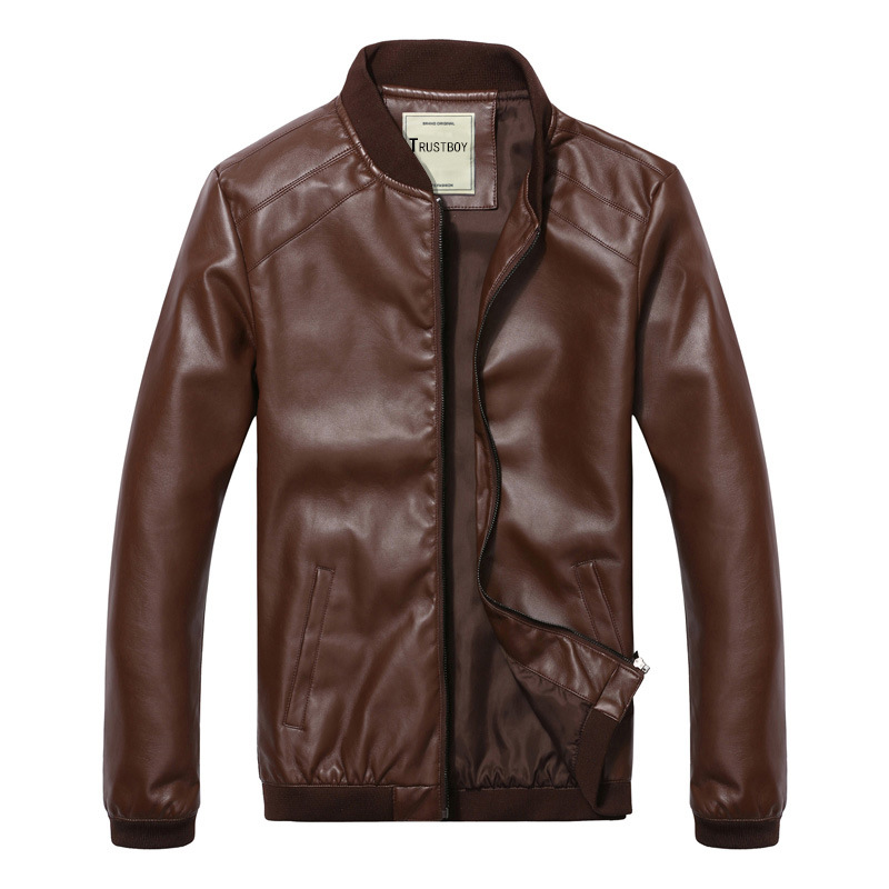 Spring And Autumn Thin Men Baseball Collar Locomotive PU Coat Slim Fit Large Size Convention Leather Jacket Men's