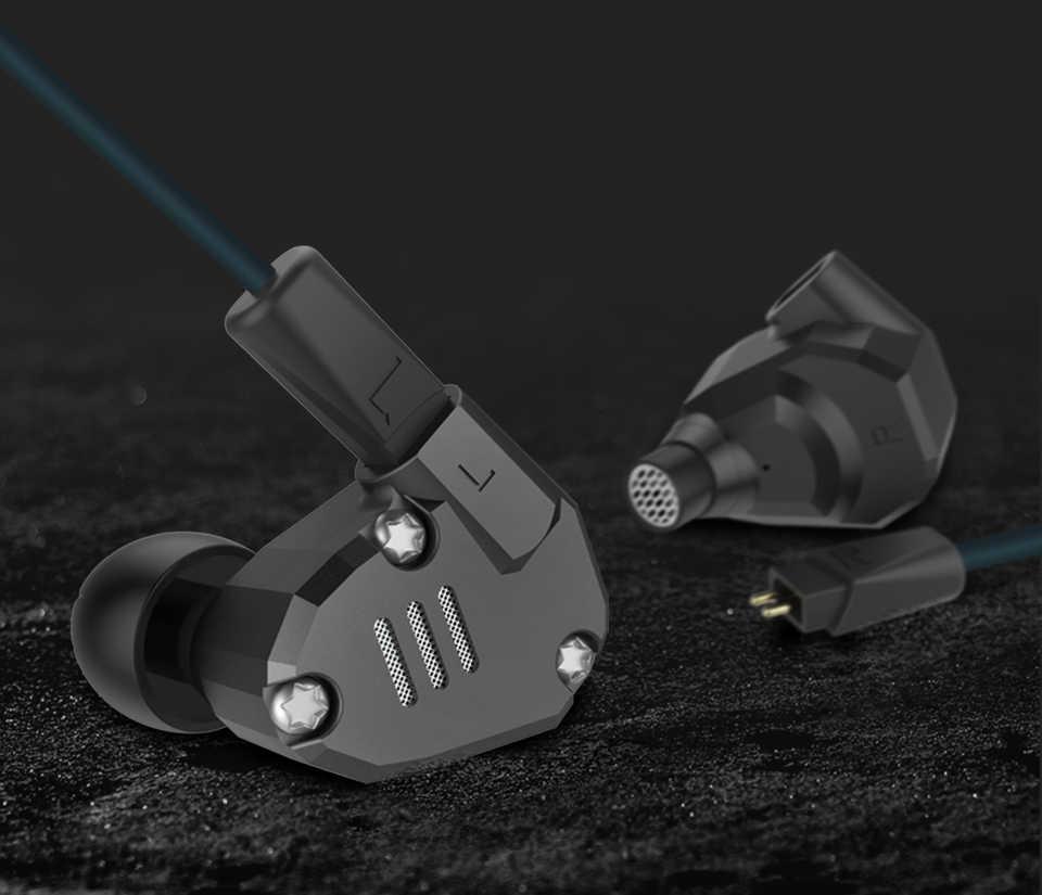 KZ ZS6 2DD + 2BA Hybrid w ucho słuchawka hi-fi DJ Monito sportowe słuchawki do biegania słuchawki douszne dla KZ ES4 ZS10 AS10 ZST ZSN PRO C10