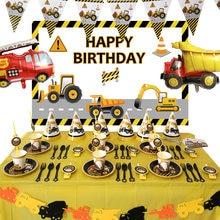 Décorations de véhicule de Construction, ensemble de vaisselle jetable, de voiture, de Cupcake, de banderole, ballons pour enfants, anniversaire garçon