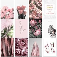 Современный ландшафт, розовая Настенная картина, свежий тюльпан, цветок, листья, Картина на холсте, девушка, комната, гостиная, украшение, до...