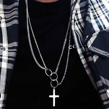 NEW Hip Hop Multi Layer Cross Pendant Necklaces For Boy Men Steampunk Long Chain Necklace Stanless Steel Jewelry Boyfriend Gift
