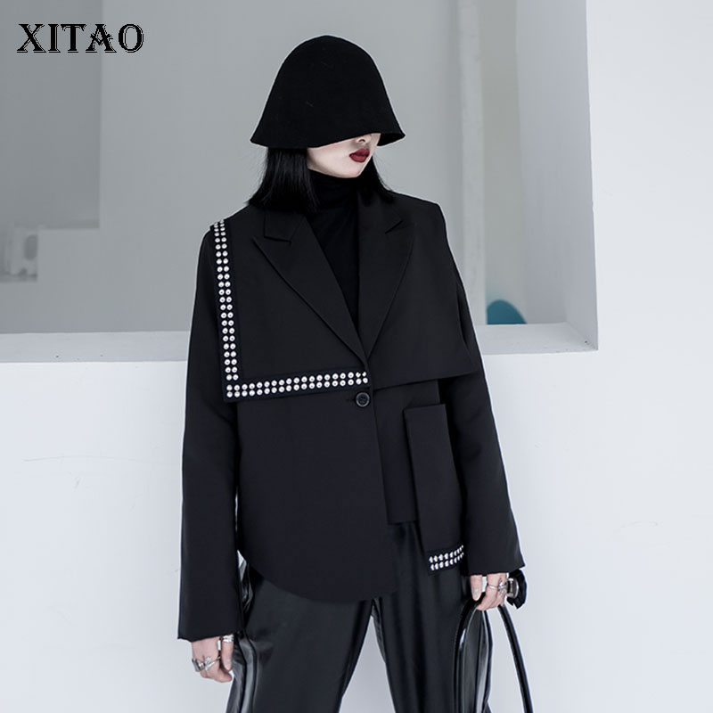 XITAO Irregular Rivet Blazer Fashion New Women 2020 Spring Small Fresh Casual Full Sleeve Full Sleeve Goddess Fan Coat XJ3793