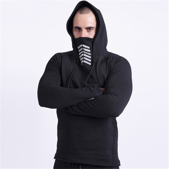 Men Fitness Hoodies Outdoor Running Basketball Bodybuilding Hooded Cap with Half Mask Style Male Sports Pullovers Plus Size 3XL