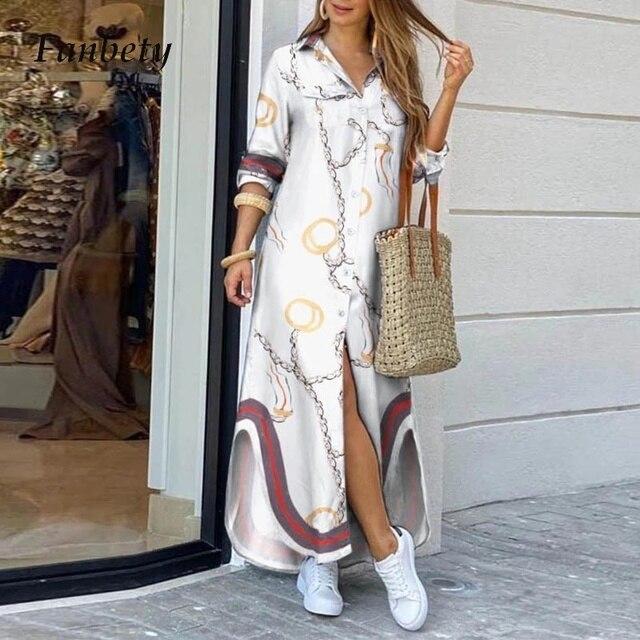 Модное женское платье-рубашка с длинным рукавом, осенние длинные платья с принтом OL, свободный сарафан с отложным воротником, вечерние платья 5