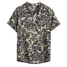 Reto étnico camisa homem casual manga curta camisa de verão respirável poliéster casual algodão linho impressão havaiano camisa blo 2020