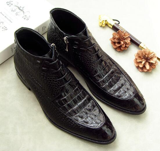 2 Colour Fashion Men Zip Lace-up Ankle Boots Genuine Leather Pointed Toe High-top Dress Shoes Party Wedding Shoes