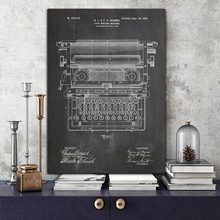 Abstract Canvas Painting Office Typewriter Patent Vintage Print Working Typewriter Art Poster Print Office Blueprint Wall Decor vintage abstract print jeggings