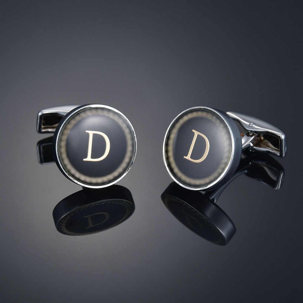 Yeni varış moda mektup A-Z kol düğmeleri İngilizce alfabe kol düğmeleri lüks erkek gömlek Charm kol düğmeleri toptan