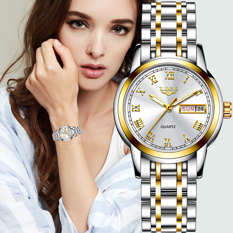 LIGE 2020 New Gold Watch Women Watches Ladies Creative Steel Women's Bracelet Watches Female Waterproof Clock Relogio Feminino