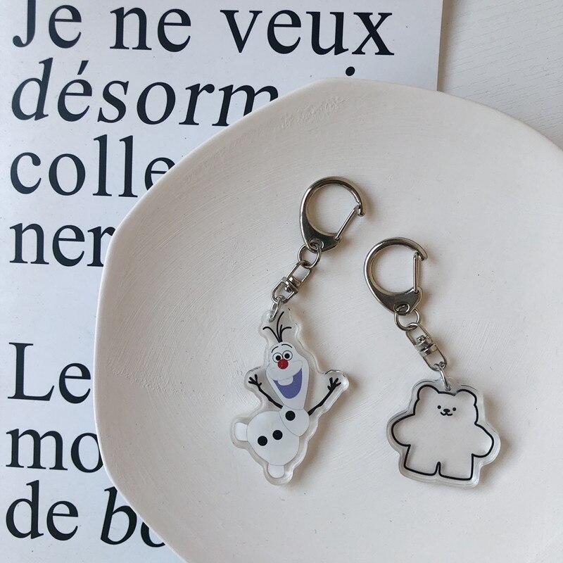 Korean Fashion Women Bag Pendant Cute Snowmen Bear Key Ring Charm Women Wallet Keyring Accessory Car Pendant Chidren Gift
