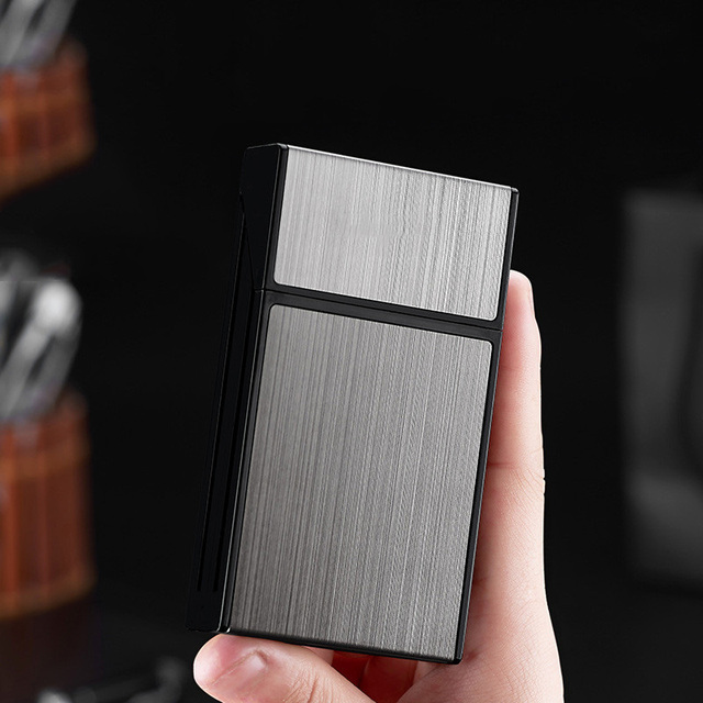 20 Sticks Cigarette Box Case Space Aluminum Slim Cigarette Holder Lighter Portable Cigarette Case Mens Gifts Smoking Accessories 3