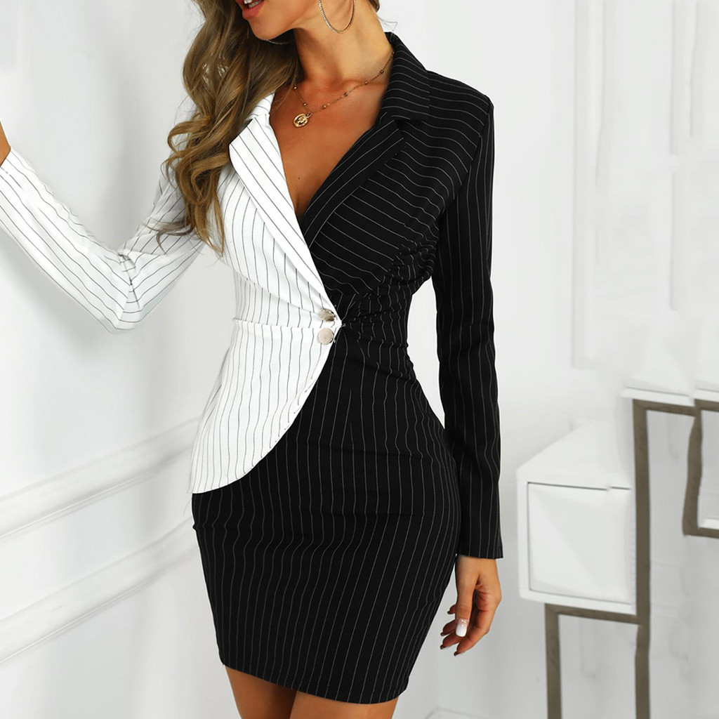 Women's Dress Turn Down Neck Long Sleeve Buttons Striped Patchwork Bodycon Blazer Dress Jacket Office Ladies Work Dress Vestidos