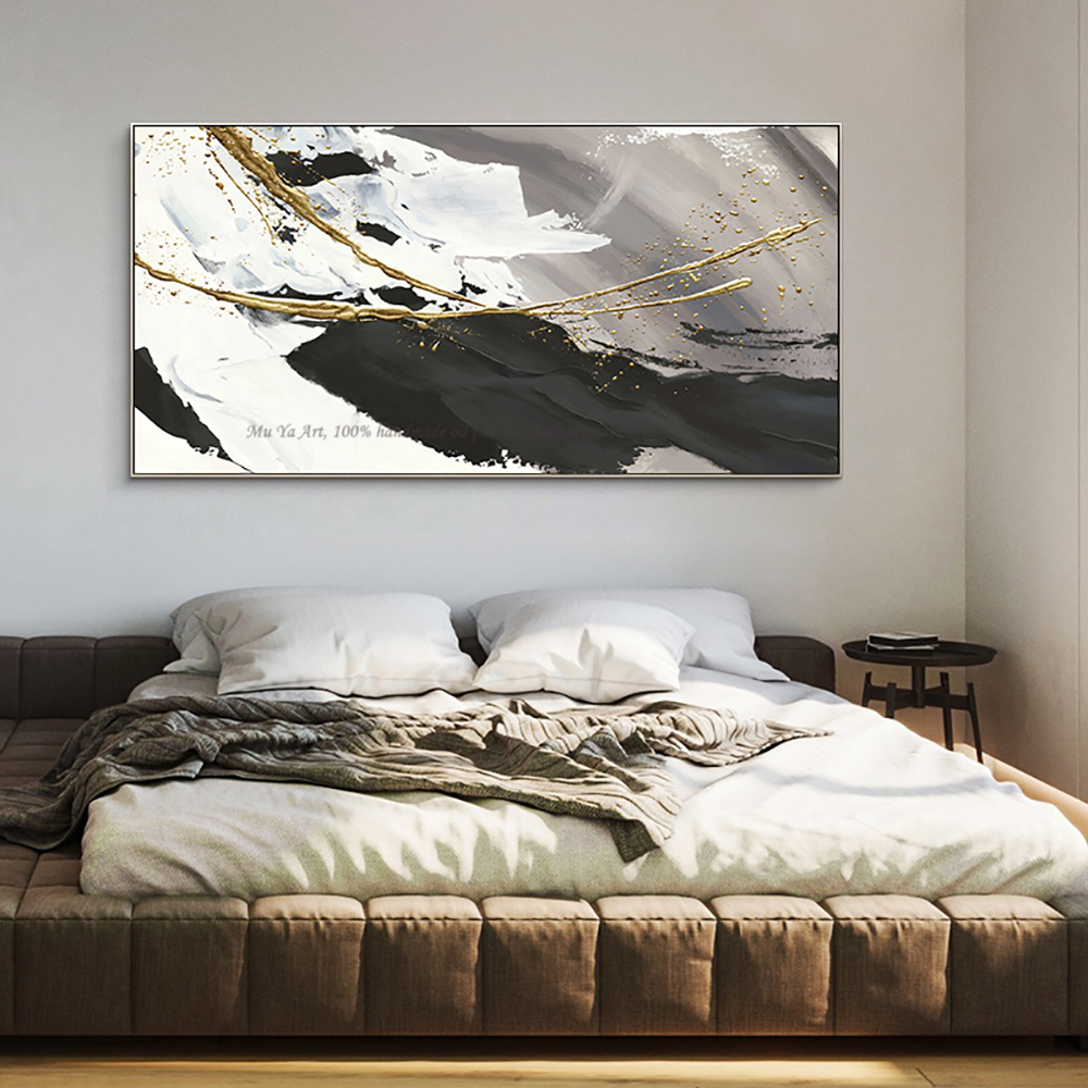Image 2 - Hand painted oil painting canvas abstract black and white gold 