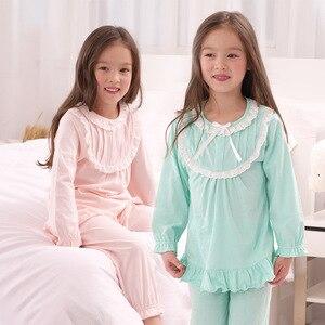 Пижамы для девочек; Сезон весна-осень; Хлопковые детские пижамы с длинными рукавами; Одежда для маленьких девочек; Детская одежда для сна