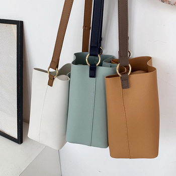 fashion large capacity bucket bag designer women shoulder bags luxury pu leather crossbody bag female simply panelled big purses women bag big capacity female color blocking handbag fashion shoulder bag purse ladies pu leather crossbody bag