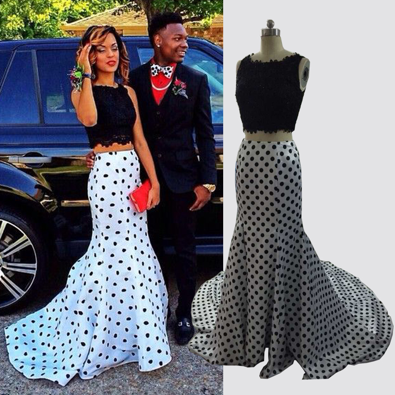 Elegant Lace White And Black Polka Dot Two Piece Mermaid Prom Gown 2018 Crew Cheap Party Vestidos Mother Of The Bride Dresses